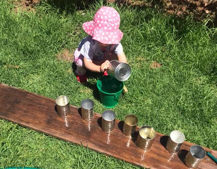 Pouring water and exploring with maths and science